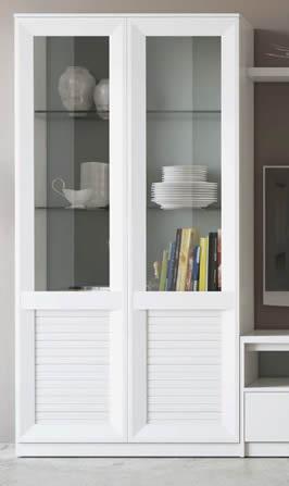Mueble vitrina 2 puertas con cristal lacado mate sal n for El shopping del mueble catalogo
